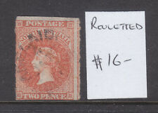 South Australia: Two Pence Orange Qv Rouleted Used Wmk Large Star