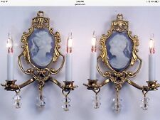 Dollhouse Miniature Lighting Electric WALL SCONCES Pair BLUE or PINK Handcrafted