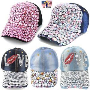 Women Chunky Crystal Embedded Baseball Cap Adjustable Love Lips Hat Snap Back