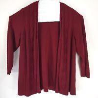 Karen Scott Womens size 2X Dark Red Open Front Sweater Cable Knit Long Sleeve