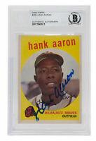 Hank Aaron Signed 1959 Topps #380 Milwaukee Braves Baseball Card BGS