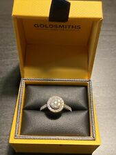 WHITE GOLD DIAMOND CLUSTER ENGAGEMENT RING BOUGHT IN 2017 GOLDSMITHS