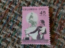 Vintage Cancelled stamp Colombia Derechos Polticos Politcos De La Mujer Correo