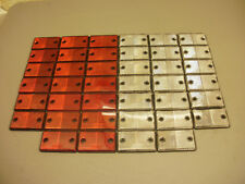 40 x Red & White ***SQUARE*** Reflectors for Driveway Gate Fence Posts & Trailer
