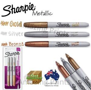 3x Genuine Metallic Sharpie Fine Point Permanent Marker Pens Gold Silver Bronze