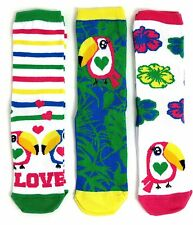 3 paires femmes exotic tropical toucan chaussettes taille uk 4-8 eur 37-42 usa 6-10