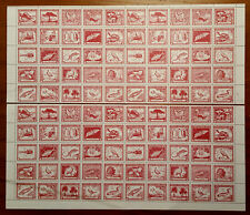CHILE 1948 AIRMAIL - Gay Book Cent. 3p red brown FAUNA /FLORA COMPLETE SHEET MNH