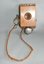 Antik alt Wandtelefon Fernsprecher Holz 23 cm Fach C3