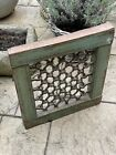 Vintage Small Indian Teak Wooden Iron Window Jali Screen Salvaged in Rajasthan