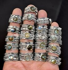 100 PCs. Wholesale Lot Natural Multi Labradorite Spinner 925 Silver Plated Rings