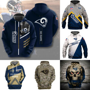 Los Angeles Rams Hoodies Sweatshirt Men's Casual Jacket Hooded Pullover Coat Top