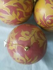 LOT OF 6 HANDPAINTED BALLS CHRISTMAS ORNAMENTS LARGE 4 INCH