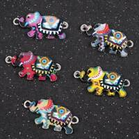 10Pcs/set Enamel Colorful Elephant Connectors For Jewelry DIY Making Bracelet