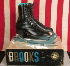 Vintage Brooks Black Leather Mens Ice Skates with Original Box Sz. 5 Great Pair!