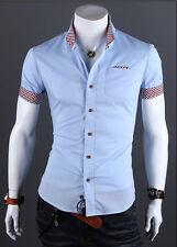 Luxury Mens Stylish Slim Fit Short Sleeve Shirt Formal Dress Casual T-shirt Tops