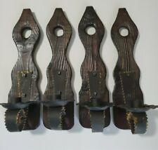 2 Pair Dark Wood Gold Tip Metal Taper Candle Wall Sconces Rustic Mid Evil Spain