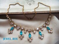 EARLIER VINTAGE Beautiful AQUAMARINE + DIAMOND  CRYSTAL RHINESTONE  NECKLACE