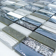 Dark Blue Glass And Stone Mosaic Walls Floors Tiles Sheet Bathroom 30cmx30cm