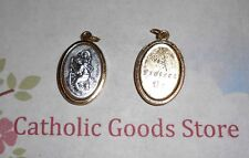 St. Saint. Christopher  - Protect Us - Silver-Gold tone Italian 1 inch Medal