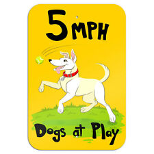 """Slow Dogs at Play Novelty Metal Sign 6"""" x 9"""""""
