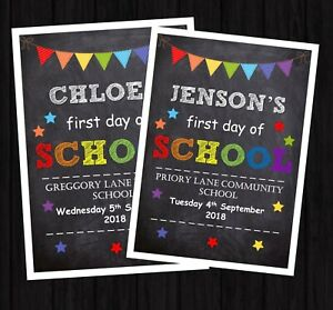 FIRST DAY OF SCHOOL PRINT PERSONALISED A4 BACK 2 SCHOOL CHALK EFFECT PROP A4M