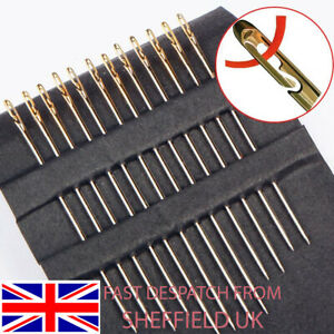 12 SELF THREADING SEWING NEEDLES - ASSORTED SIZES - EASY THREAD - 3 SIZES