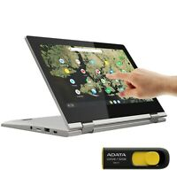 "Lenovo Chromebook 11.6"" TOUCH Intel 2.6GHz 32GB SSD 4GB RAM Webcam Silver Bundle"