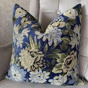 "Beautiful Cushion Cover 18"" Designer iLiv Fabric, Winterbourne Navy & Green"
