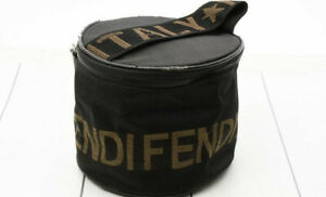Fendi Bag Handbag Purse Tote Clutch Round Small Roma Logo Canvas Vintage 90s