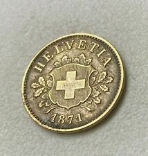 Monnaie SUISSE HELVETIA 10 Rappen 1871 B RARE EN L'ETAT
