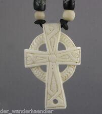 Ethno Kette Kreuz keltisch Anhänger aus Knochen Gothik Handarbeit S-Bal40