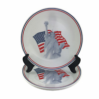 Set 4 Corelle Corning Dinner Plates Statue of Liberty American Flag 1991 10-1/4""