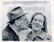 1966 Denmark King Frederik Puckers to Kiss Princess Margrethe Press Photo