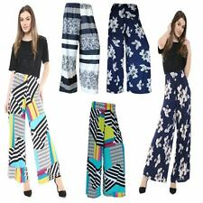 WOMENS LADIES PALAZZO PRINTED WIDE LEG FLARED TROUSER BAGGY PANTS PLUS SIZE 8-26