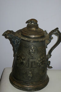 1800's ANTIQUE QUADRUPLE PLATE Heavy Water PITCHER Dated 1854 Monogrammed Kate