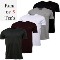 883 Police Mens 5 Pack T-Shirt Designer 100% Cotton Crew Neck Slim Fit Tee Top