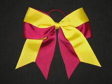 """NEW """"Two-Tone BURGUNDY & YELLOW"""" Cheer Bow Pony Ribbon Girls Hair Cheerleading"""