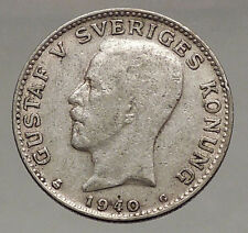 1940 Sweden King Gustaf V Krona Crowned Coat of Arms European Silver Coin i56639