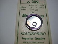 HAMILTON  P/W MAIN SPRING #1228 / 3028   12s    ( .18mm )   & MOTOR BARREL
