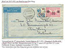 NED INDIE 1931-10-7   FL. CV = BATAVIA-DEN HAAG =  LABEL HOTEL DES INDES--  F/VF