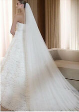 Romantic Bridal 3m Cathedral Length Cut Edge Wedding Veil in White w/ Comb