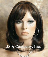 HUMAN HAIR Blend HEAT SAFE Black mix Straight Flat Wig WBPM 1B-30