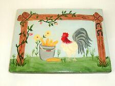 Vtg Handmade Rooster/Chicken Wood Plaque Country Farmhouse folk art handpainted