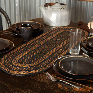 "VHC Brands Primitive 36""x13"" Table Runner Black Farmhouse Kitchen Table Decor"