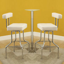 "Set of 2 Swivel Pub Bar Stools Chairs White PU Leather Chrome Finish Base 29""H"