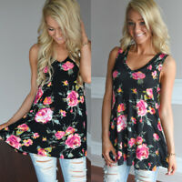 Womens Casual Floral Flraed Tank Top Sleeveless Summer Blouse Vest Tunic T Shirt