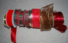 LOT Christmas Ribbons Assorted Rolls Gift Wrap Ribbon Holiday Red Gold Green