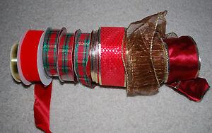 Christmas Ribbons LOT Vintage Ribbon Rolls Holiday Red Gold Green Satin Plaid