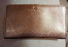 KATE SPADE GRAND STREET STACY LEATHER BI-FOLD WALLET GOLD PRE OWNED