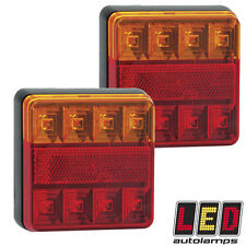 Pair 12v Square Rear LED Trailer Lights *3 YEAR WNTY* Stop/Tail/Indicator